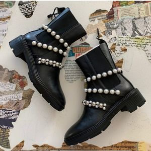 ZARA Black Leather Pearl Strap Ankle Boots